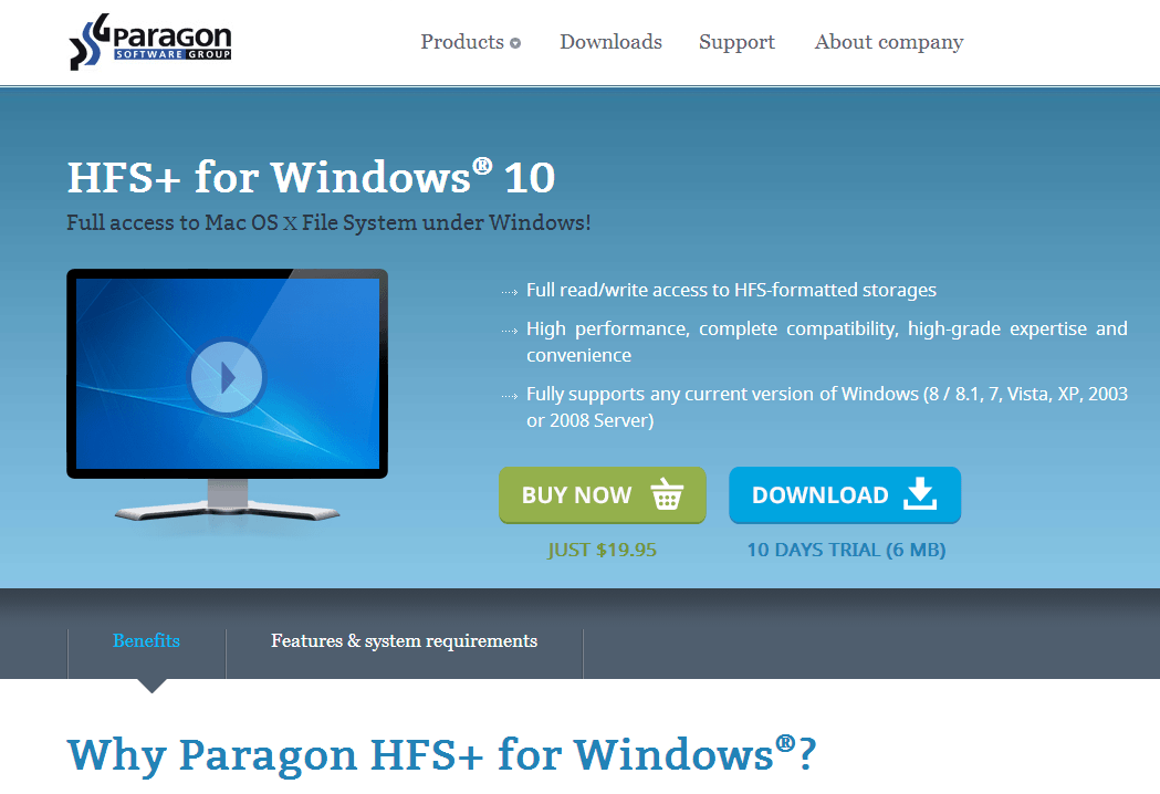 Paragon HFS+ for Windows 10.0 (English)サイト画像