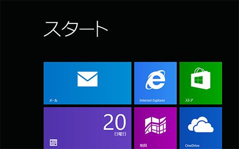 Windows8.1 スタート画面のメールアプリケーション画像