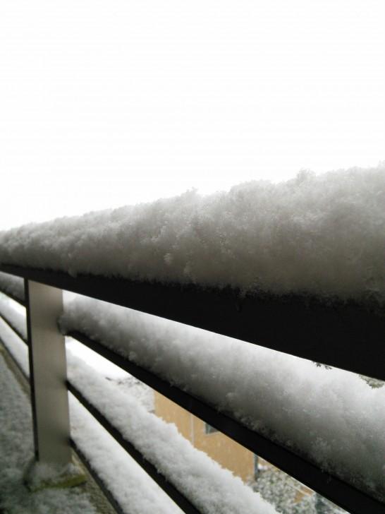 柵に積もった雪、2014/02/08撮影