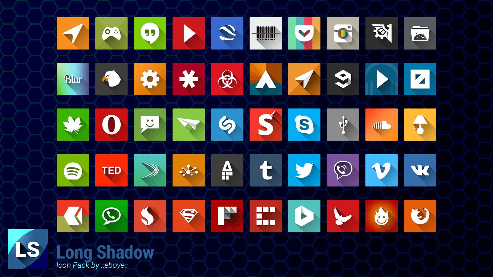 Long Shadow Icon Pack、アイコンパターン例画像