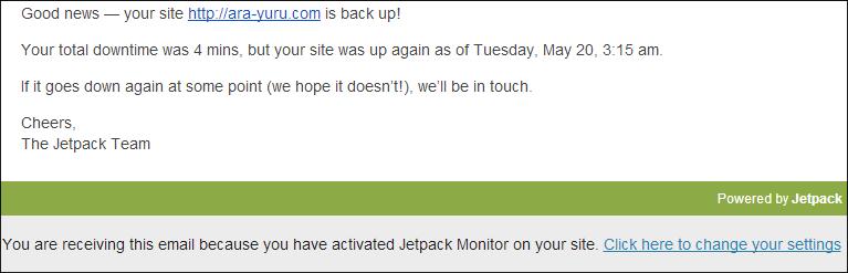 Jetpackモニター、サイト回復のお知らせメール画像