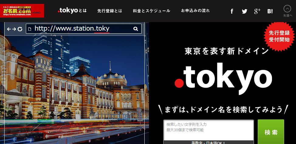 .tokyoドメイン登録ページ画像