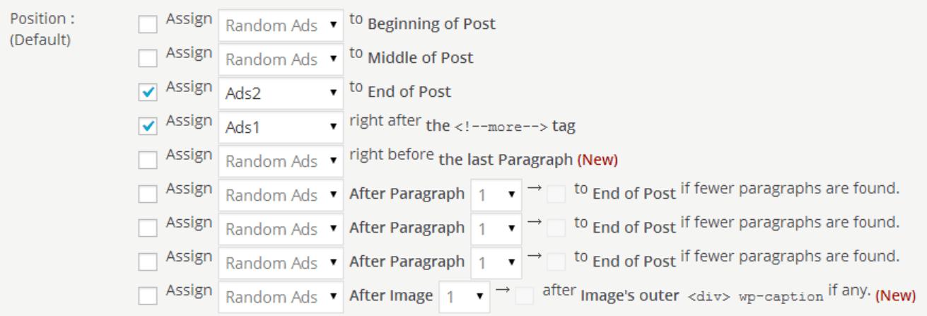 Quick Adsense、表示位置の設定画像