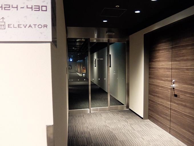 ホテルアール・メッツ宇都宮、セキュリティゲートからエレベーターホールを見た写真