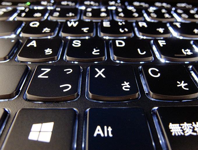 ThinkPad X1 Yoga、バックライト付きキーボード