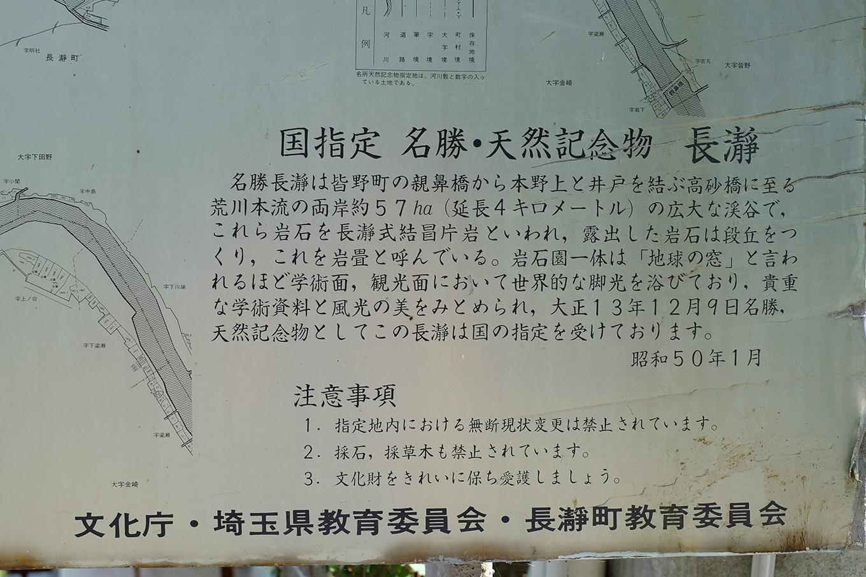 国指定 名勝・天然記念物 長瀞の説明看板