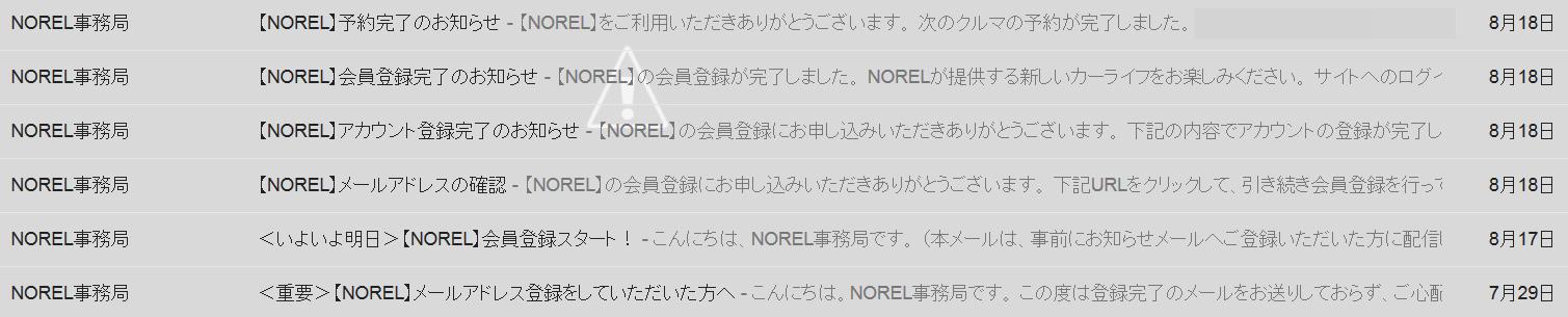 NORELから送られてきたメール見出し画面