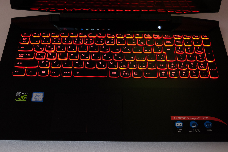 ideapad Y700のバックライトキーボード点灯シーン